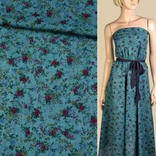 Батист бирюзовый темный, бордовые, синие цветы, ш.140