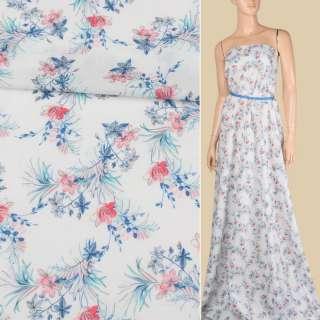 Батист белый в розово-голубые мелкие цветы, ш.142