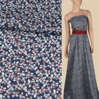 Батист синий в мелкие коричнево-голубые цветы, ш.143