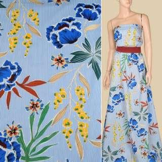 Батист в бело-голубую полоску, крупные синие цветы, зеленые листья, ш.140