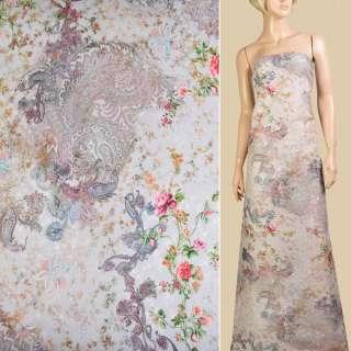"""Батист """"Apanage"""" жемчужный в розово-зеленые цветы и узоры ш.145"""