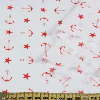 Коттон стрейч белый, красные звездочки, якоря, ш.150