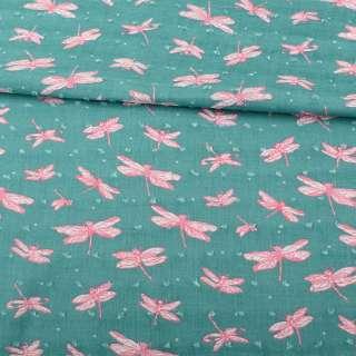 Батист бирюзовый, розовые стрекозы, жаккардовые точки, ш.145