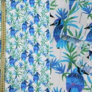 Батист с мережкой белый, синие птички, зеленые ветки, ш.135