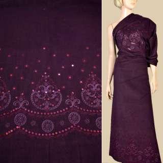 Микровельвет стрейч фиолетовый с вышивкой и пайетками, раппорт 102 см, ш.140