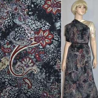 Велюр стрейч черный с бордово-серым цветочным рисунком, ш.150