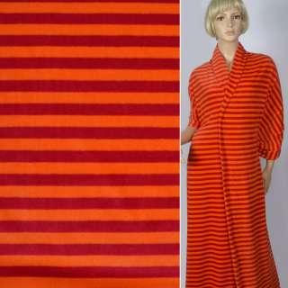"""Велюр хлопковый """"Nicki Streifen""""оранжевый в темные полосы (10мм) ш.152"""