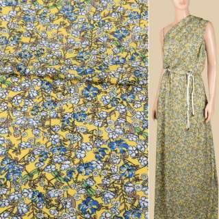 Вискоза желтая, мелкие голубые, белые цветки, ш.140