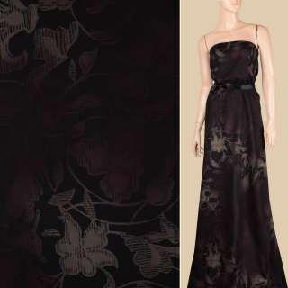 Вискоза черная в оливково-коричневые цветы, ш.143