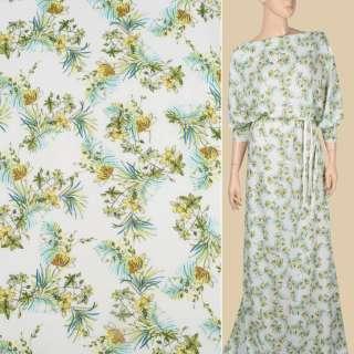 Вискоза белая в желтые, зеленые цветы и листья, ш.140