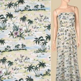 Вискоза салатово-голубая, фламинго, пальмы, цветы, ш.137