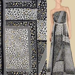 Креп вискозный в черно-белые квадраты с леопардовым принтом, ш.145