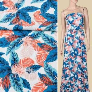 Креп вискозный белый, синие, оранжевые тропические листья, ш.150