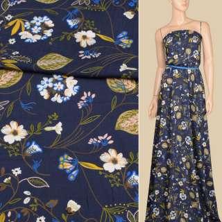 Вискоза синяя темная, бело-синие цветы, желтые, оливковые листья, ш.140