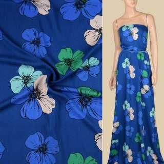 Вискоза синяя в зелено-голубые, бежевые крупные цветы, ш.140