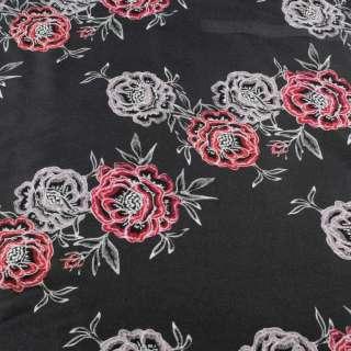 Вискоза серая темная, принт вышитые розы, ш.145