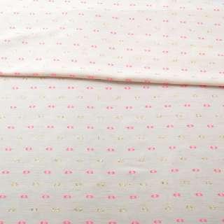 Вискоза молочно-бежевая, розовые, золотистые жаккардовые точки с ресничками, ш.155