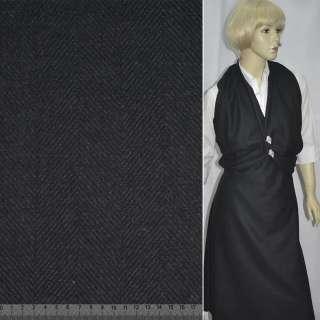 Шерсть пальтовая елочка черная, ш.150