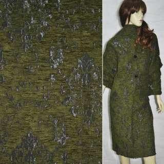 Фукра пальтовая серая с зеленым рисунком ш.150