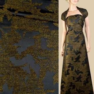 Жаккард с ворсовой нитью черный в оливковые цветы, ш.145