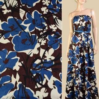Коттон жаккардовый синий в молочно-коричневые цветы, ш.142