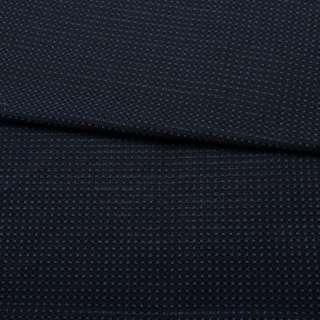 Жаккард стрейч черный в синюю точку с метанитью ш.153