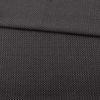 Жаккард стрейч черный в коричневую точку с метанитью ш.153