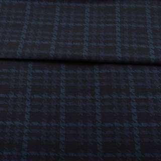 Жаккард стрейч черный в синюю гусиную лапку ш.152
