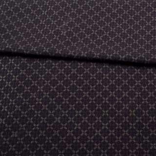 Жаккард стрейч с метанитью черный в коричневый четырехлистник