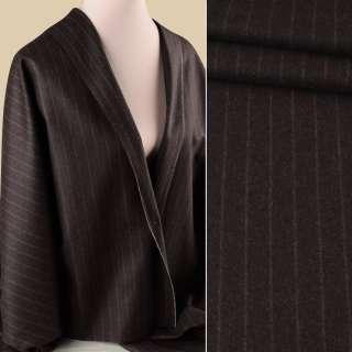 Шерсть костюмная GUABELLO с кашемиром коричневая темная в бежевую полоску ш.155