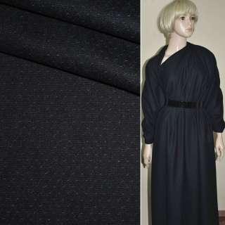 Полушерсть костюмная в точку мелкую сине-черная, ш.155