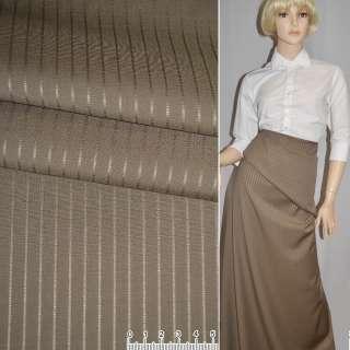 Ткань костюмная светло-коричневая в полоску Германия ш.156