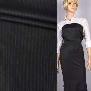 Шерсть с шелком черная в серую тонкую полосу (4мм) ш.154