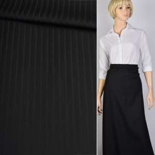 Ткань костюмная черная в полоску Германия ш.156