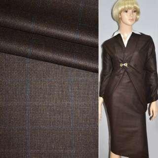 Ткань костюмная коричневая в синюю клетку CERRUTI италия ш.160