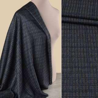 Шерсть костюмная GUABELLO с шелком серая в синюю клетку ш.152