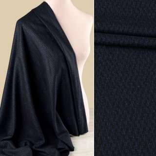 Шерсть костюмная GUABELLO с шелком черная в синий узор ш.155