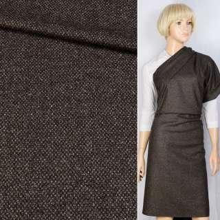 Полушерсть костюмная с шелком черно-коричневая BECKER, ш.155