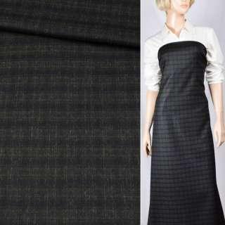 Шерсть костюмная черная в зеленую клетку, ш.148