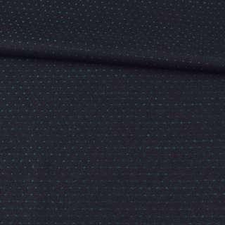 Шерсть костюмная двухсторонняя черная в зеленую точку ш.157