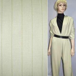 Хлопковая костюмная ткань в полоску широкую оливковая, ш.150