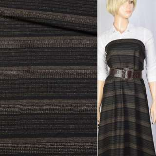 Шерсть костюмная в полоску коричневую черная BECKER, ш.160