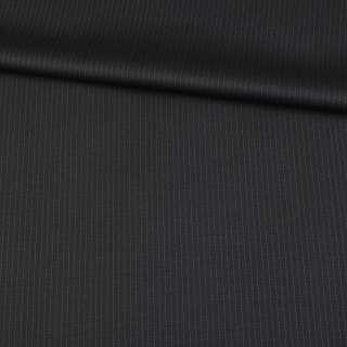 Шерсть костюмная в полоску тонкую черная, ш.155