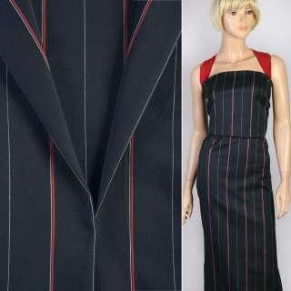 Ткань костюмная с хлопком стрейч в полоску тонкую красную и белую синяя темная, ш.140
