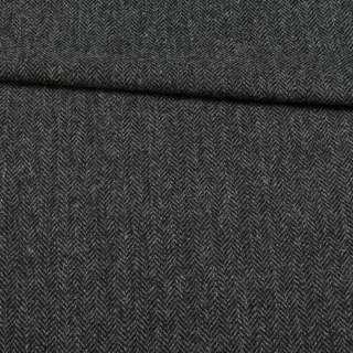 Твид шерстяной костюмный елочка черно-серая BECKER, ш.153
