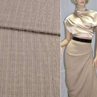 Ткань костюмная песочная в черную полоску ш.135