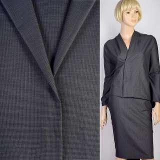 Ткань костюмная хлопковая стрейч гусиная лапка серо-черная, ш.145