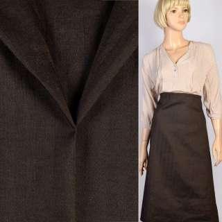 Ткань костюмная черно-коричневая в полоску-елочку, ш.150