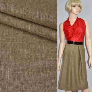 Ткань костюмная горчично-коричневая в мелкую елочку, ш.158