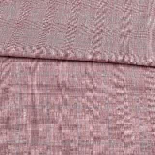 Шерсть костюмная в бордово-белую клетку ш.155